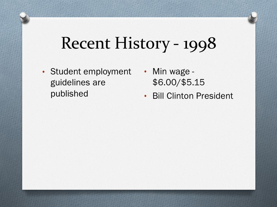 Recent History - 1998 Student employment guidelines are published Min wage - $6.00/$5.15 Bill Clinton President