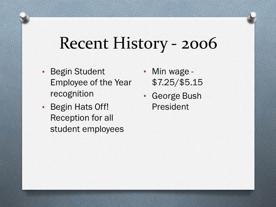Recent History - 2006 Begin Student Employee of the Year recognition Begin Hats Off.