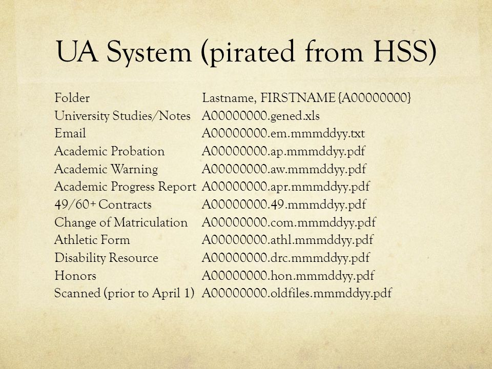UA System (pirated from HSS) FolderLastname, FIRSTNAME {A00000000} University Studies/NotesA00000000.gened.xls EmailA00000000.em.mmmddyy.txt Academic ProbationA00000000.ap.mmmddyy.pdf Academic WarningA00000000.aw.mmmddyy.pdf Academic Progress ReportA00000000.apr.mmmddyy.pdf 49/60+ ContractsA00000000.49.mmmddyy.pdf Change of MatriculationA00000000.com.mmmddyy.pdf Athletic FormA00000000.athl.mmmddyy.pdf Disability ResourceA00000000.drc.mmmddyy.pdf HonorsA00000000.hon.mmmddyy.pdf Scanned (prior to April 1)A00000000.oldfiles.mmmddyy.pdf