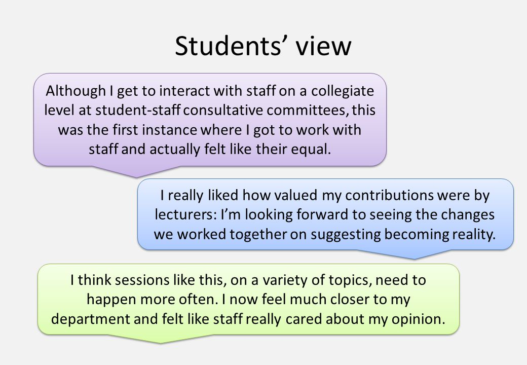Students' view Although I get to interact with staff on a collegiate level at student-staff consultative committees, this was the first instance where I got to work with staff and actually felt like their equal.