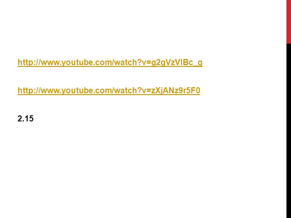 http://www.youtube.com/watch v=g2gVzVIBc_g http://www.youtube.com/watch v=zXjANz9r5F0 2.15