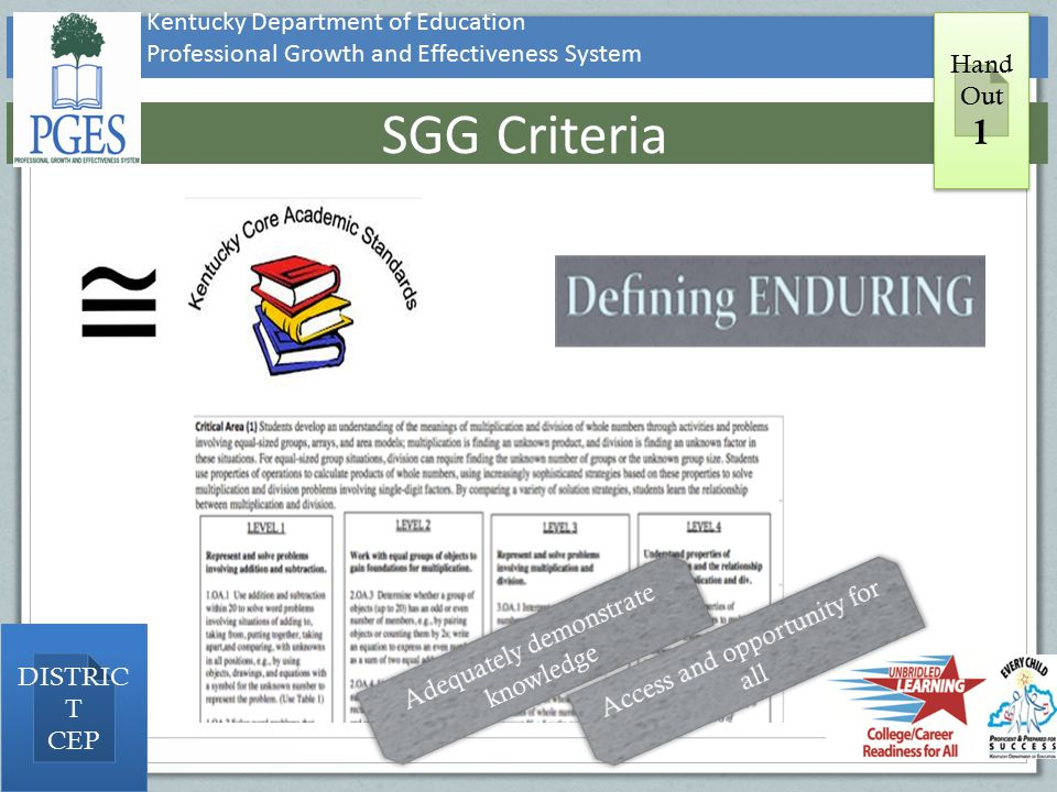 Kentucky Department of Education Professional Growth and Effectiveness System SGG Criteria Hand Out 1 Hand Out 1 DISTRIC T CEP