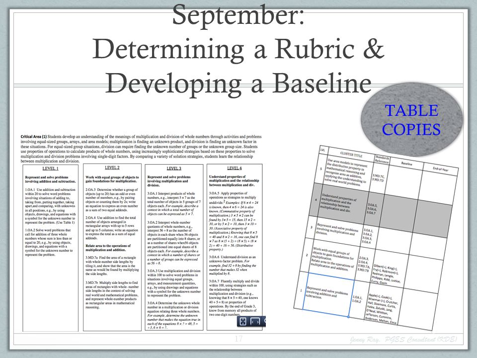 September: Determining a Rubric & Developing a Baseline Jenny Ray, PGES Consultant (KDE) 17