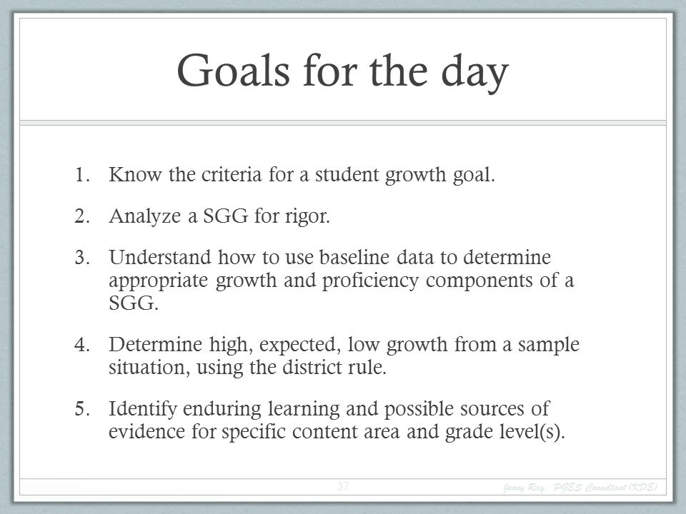 Goals for the day 1.Know the criteria for a student growth goal.