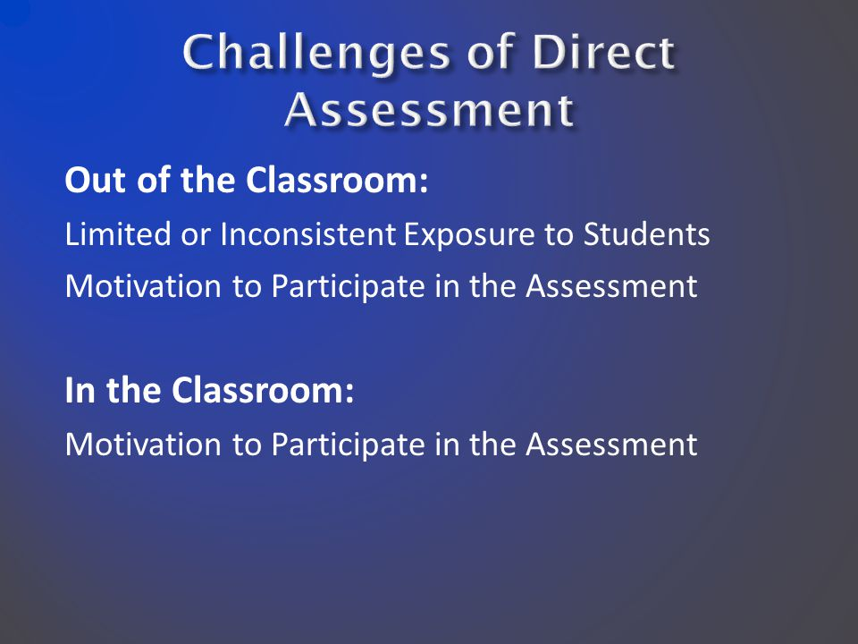 Out of the Classroom: Limited or Inconsistent Exposure to Students Motivation to Participate in the Assessment In the Classroom: Motivation to Participate in the Assessment