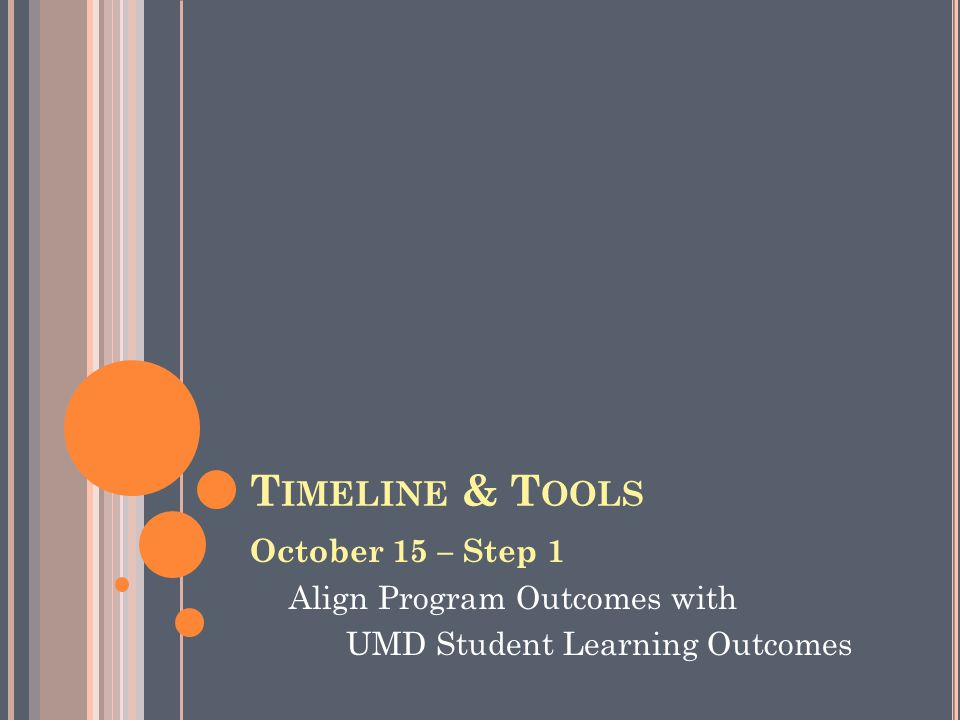 T IMELINE & T OOLS October 15 – Step 1 Align Program Outcomes with UMD Student Learning Outcomes