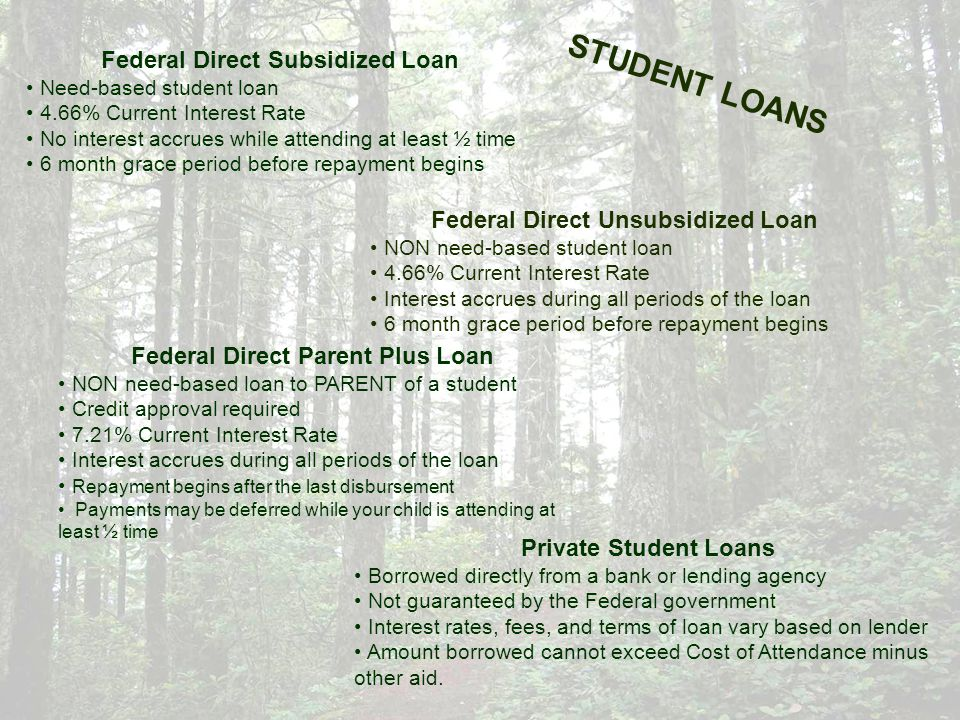LOAN LIMITS Federal Direct Subsidized and Unsubsidized Annual maximum limits Freshman$5,500 total ($3,500 maximum subsidized) Sophomore$6,500 total ($4,500 maximum subsidized) Junior/Senior$7,500 total ($5,500 maximum subsidized) Graduate$20,500 total (unsubsidized only) Independent students can borrow $4,000 - $5,000 additional unsubsidized loan depending on grade class.