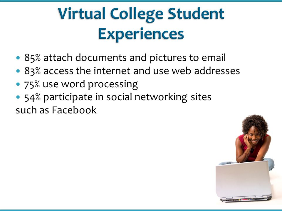 Student orientations are available for students who are taking a Virtual College course for the first time The number of students who participated in orientation last academic year:  Fall 2008: 665  Spring 2009: 2150  Summer 2009: 2284