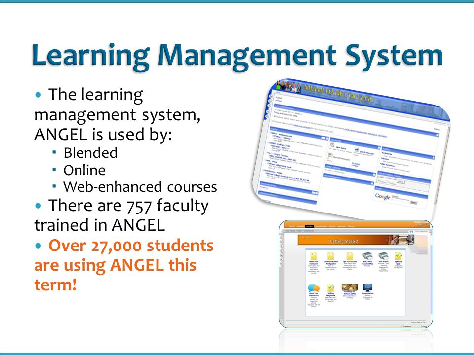 The learning management system, ANGEL is used by:  Blended  Online  Web-enhanced courses There are 757 faculty trained in ANGEL Over 27,000 students are using ANGEL this term!