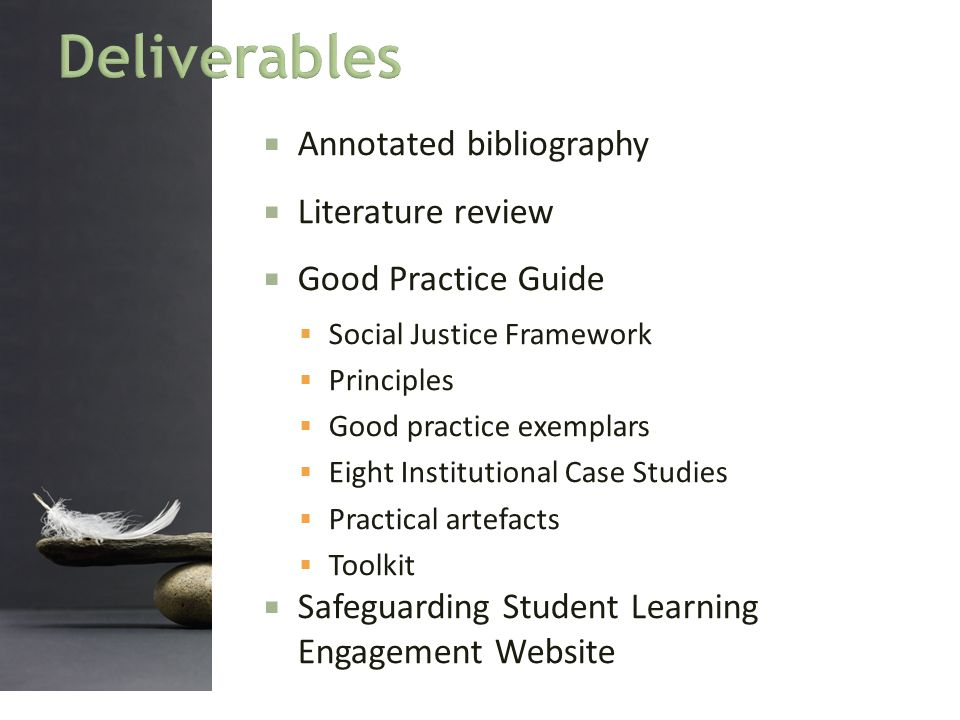  Annotated bibliography  Literature review  Good Practice Guide  Social Justice Framework  Principles  Good practice exemplars  Eight Instituti