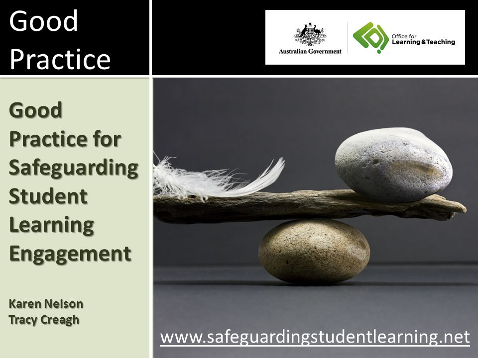 Good Practice for Safeguarding Student Learning Engagement Karen Nelson Tracy Creagh www.safeguardingstudentlearning.net Good Practice