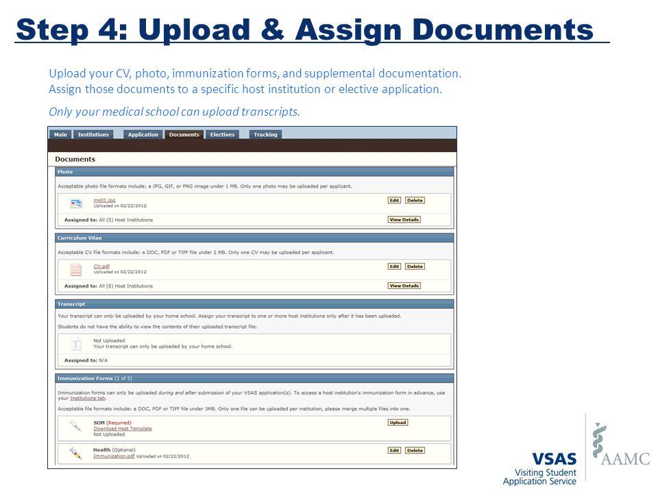 Upload your CV, photo, immunization forms, and supplemental documentation.
