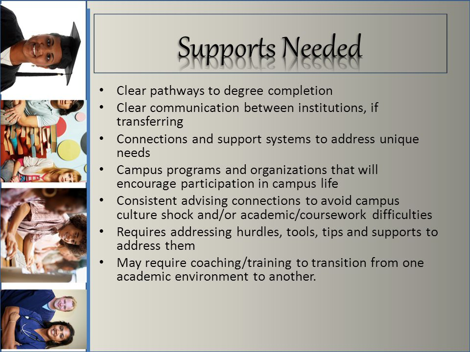 Clear pathways to degree completion Clear communication between institutions, if transferring Connections and support systems to address unique needs Campus programs and organizations that will encourage participation in campus life Consistent advising connections to avoid campus culture shock and/or academic/coursework difficulties Requires addressing hurdles, tools, tips and supports to address them May require coaching/training to transition from one academic environment to another.