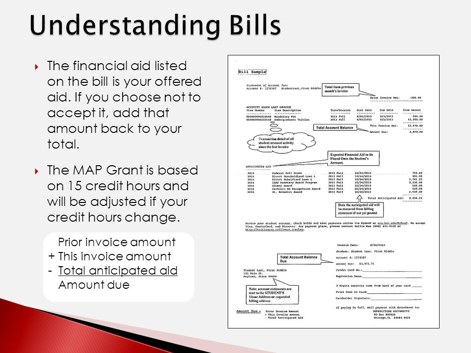  The financial aid listed on the bill is your offered aid.