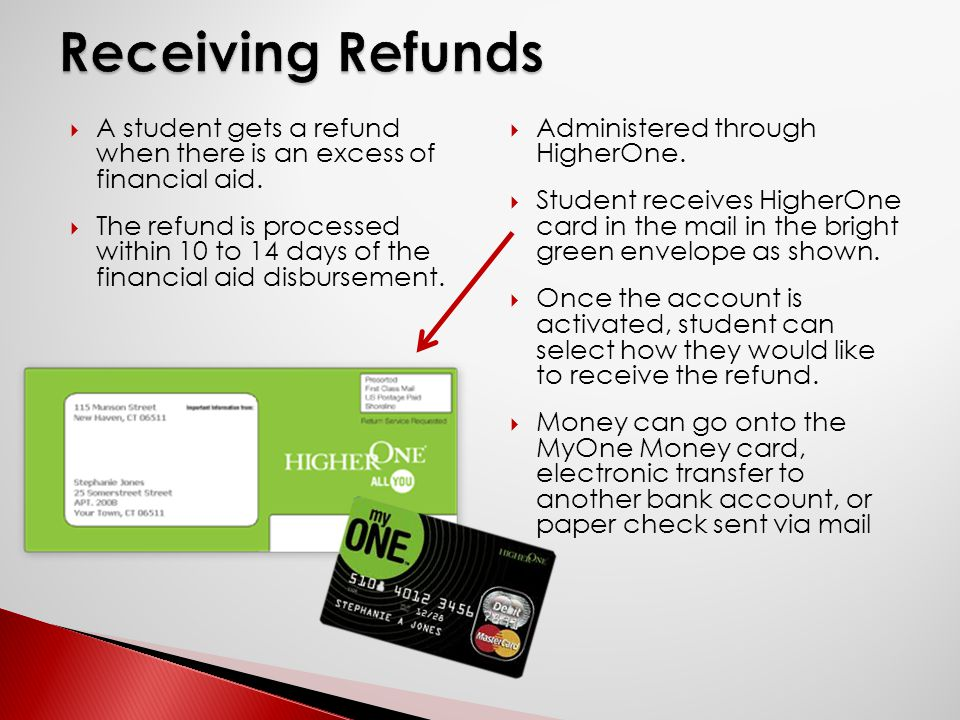  A student gets a refund when there is an excess of financial aid.