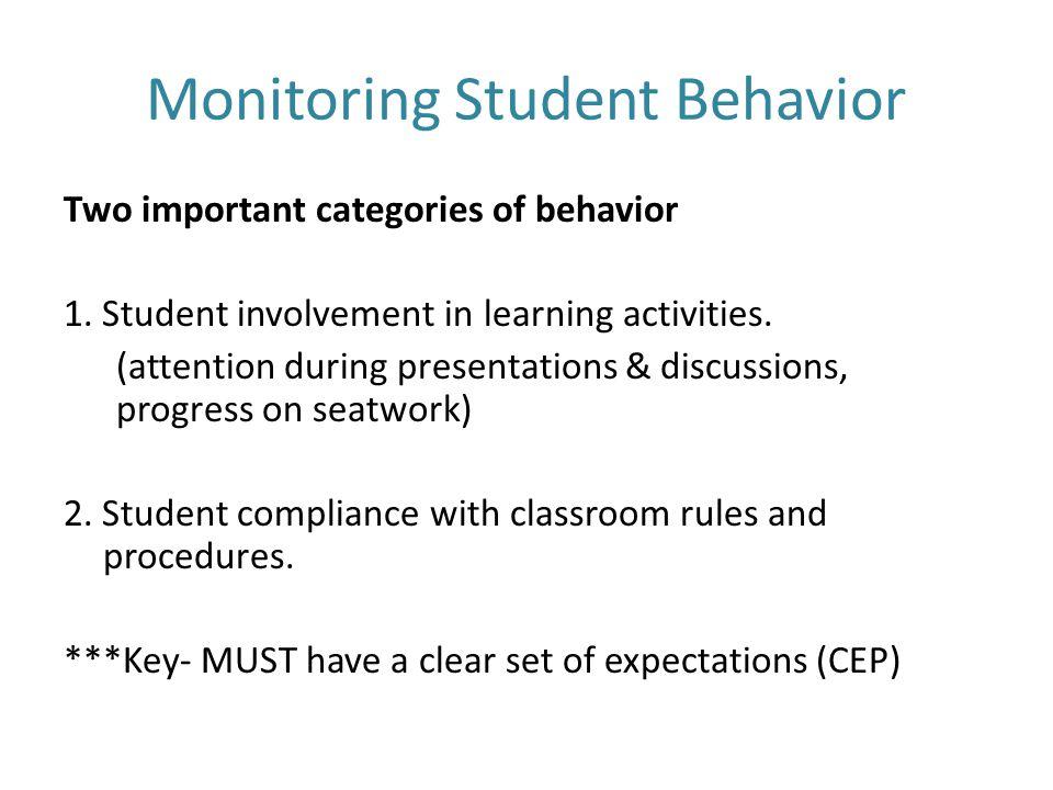 Monitoring Student Behavior Two important categories of behavior 1.