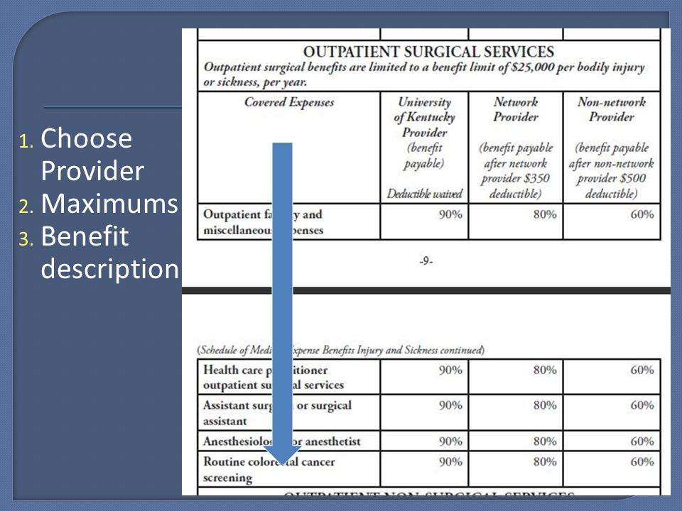 1. Choose Provider 2. Maximums 3. Benefit description