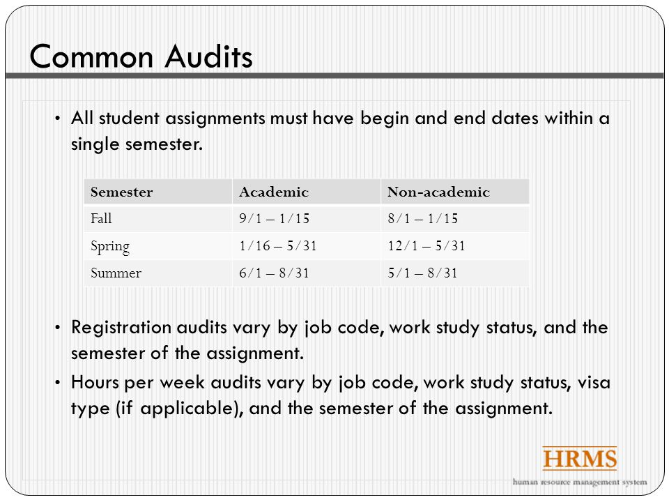 Common Audits All student assignments must have begin and end dates within a single semester.