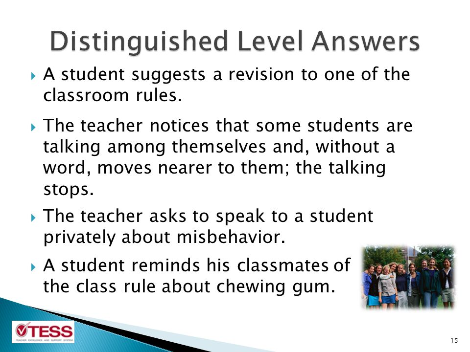  A student suggests a revision to one of the classroom rules.