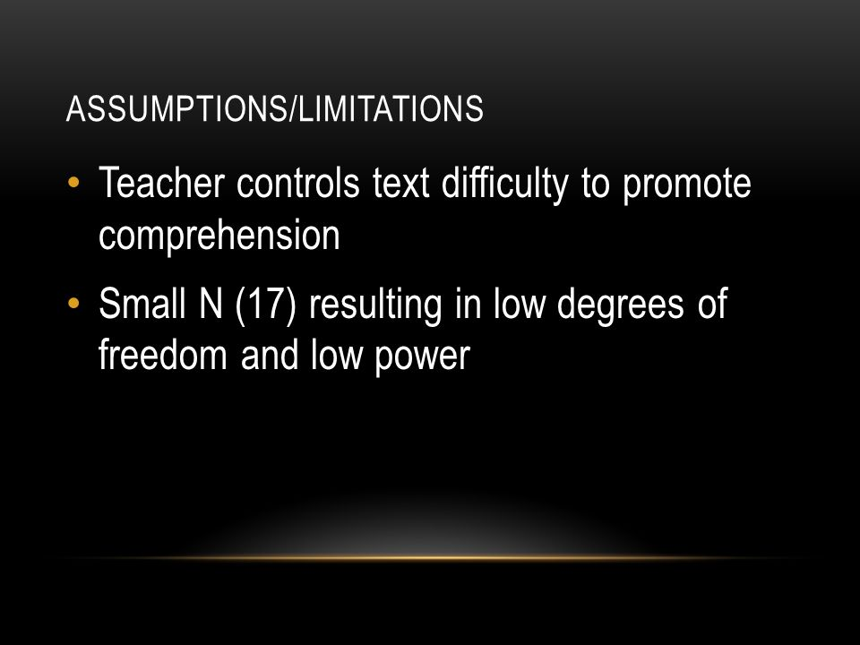 ASSUMPTIONS/LIMITATIONS Teacher controls text difficulty to promote comprehension Small N (17) resulting in low degrees of freedom and low power