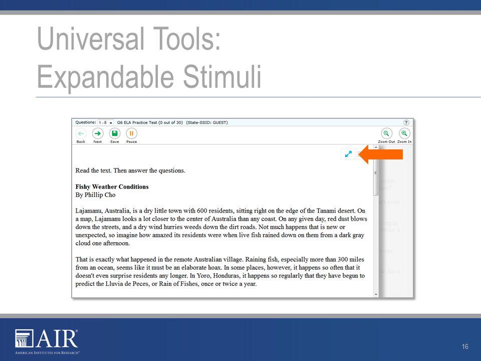 Universal Tools: Expandable Stimuli 16