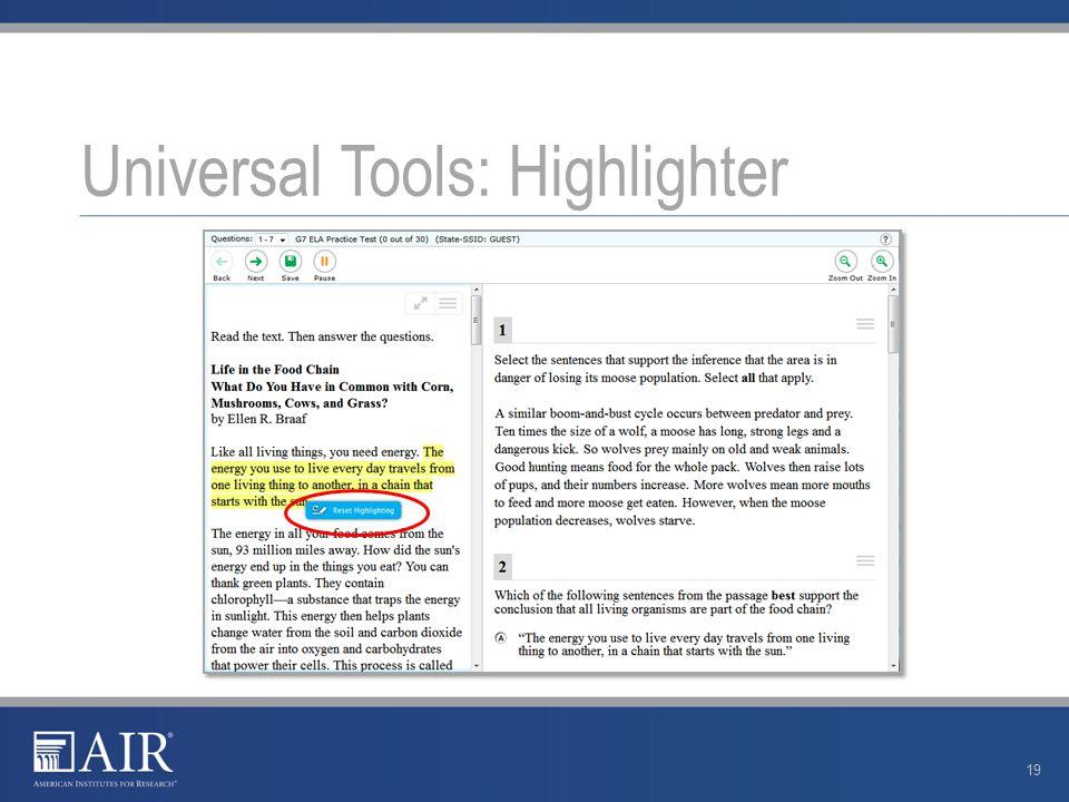 Universal Tools: Highlighter 19