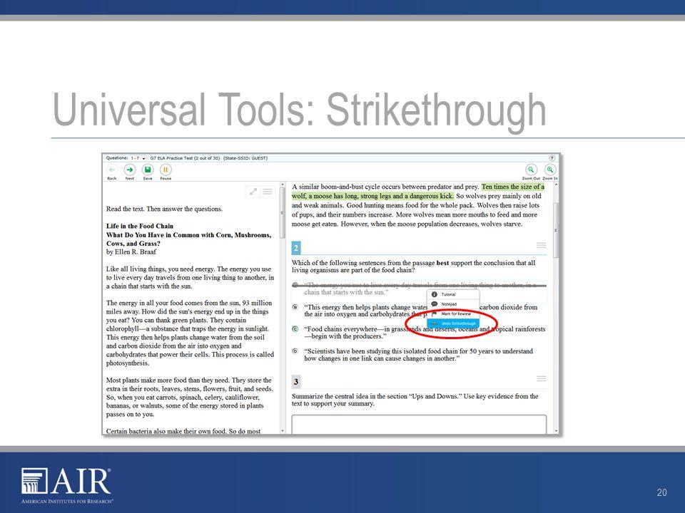 Universal Tools: Strikethrough 20