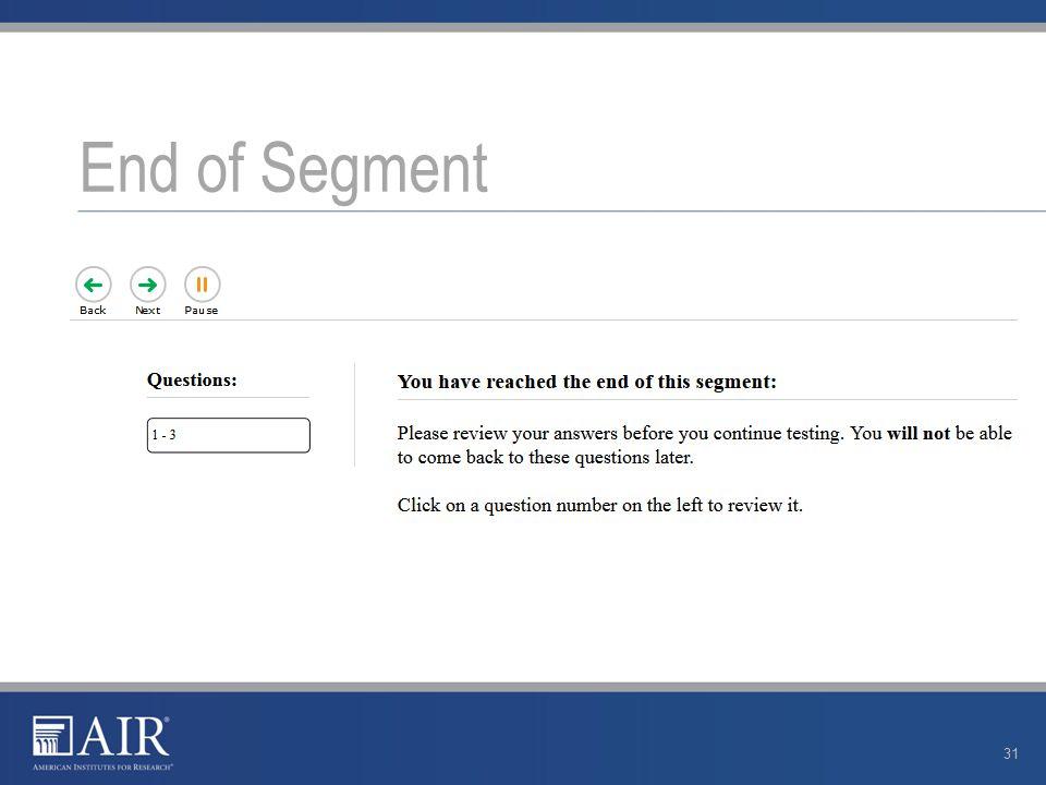 End of Segment 31