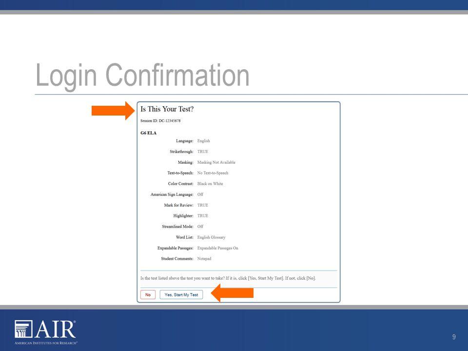 Login Confirmation 9