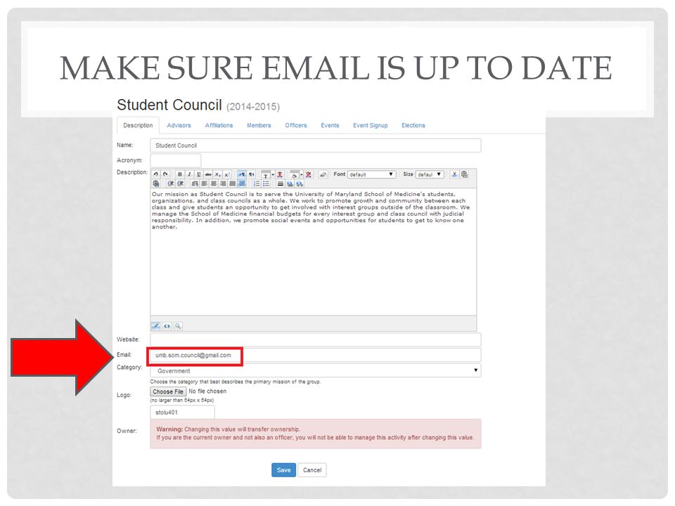 MAKE SURE EMAIL IS UP TO DATE