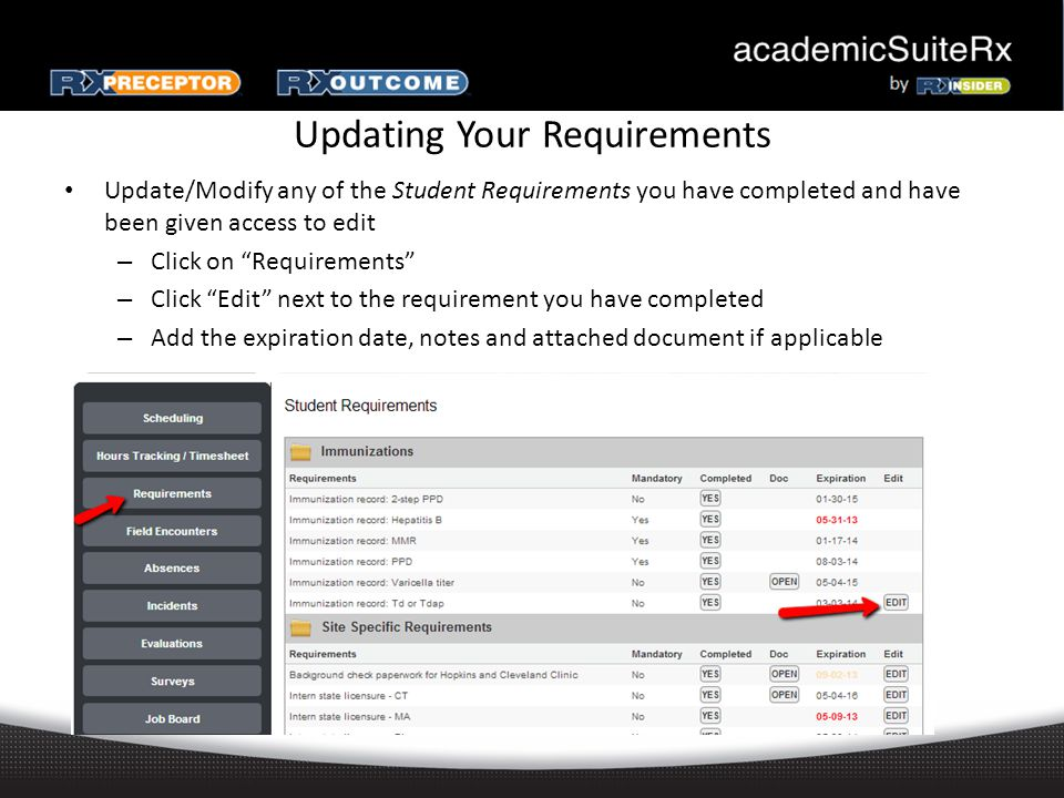 Updating Your Requirements Update/Modify any of the Student Requirements you have completed and have been given access to edit – Click on Requirements – Click Edit next to the requirement you have completed – Add the expiration date, notes and attached document if applicable