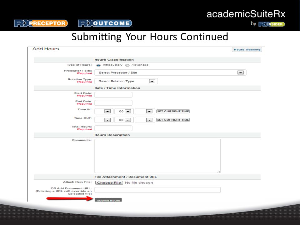 Submitting Your Hours Continued
