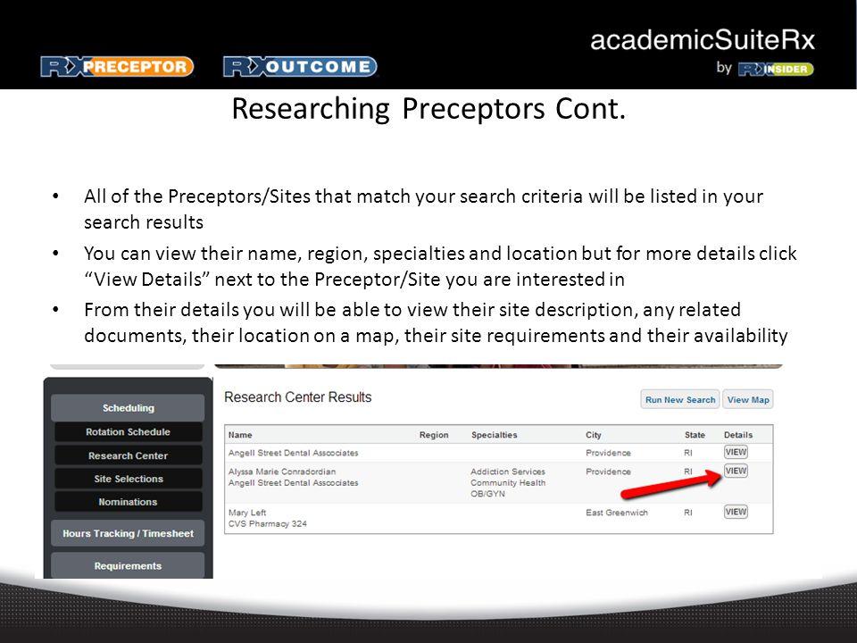 Researching Preceptors Cont.