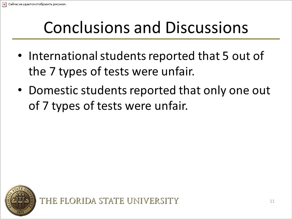 Conclusions and Discussions International students reported that 5 out of the 7 types of tests were unfair.