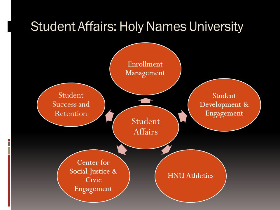 Student Affairs: Holy Names University Student Affairs Enrollment Management Student Development & Engagement HNU Athletics Center for Social Justice & Civic Engagement Student Success and Retention