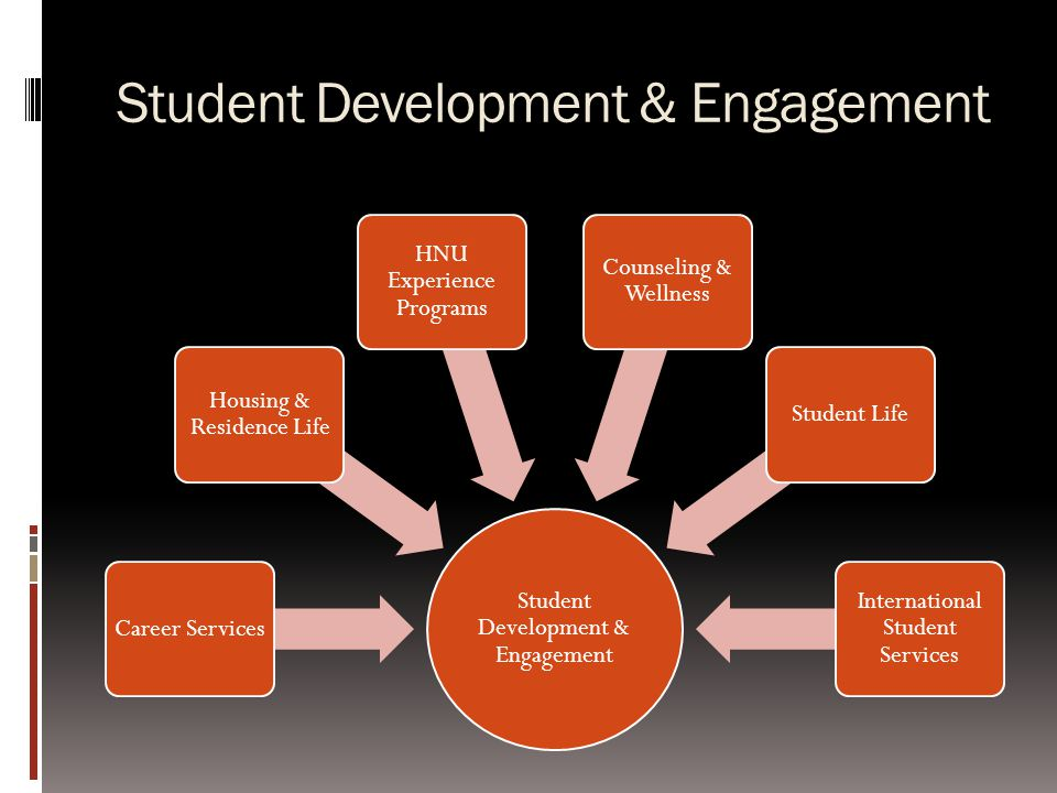 Student Development & Engagement Career Services Housing & Residence Life HNU Experience Programs Counseling & Wellness Student Life International Student Services