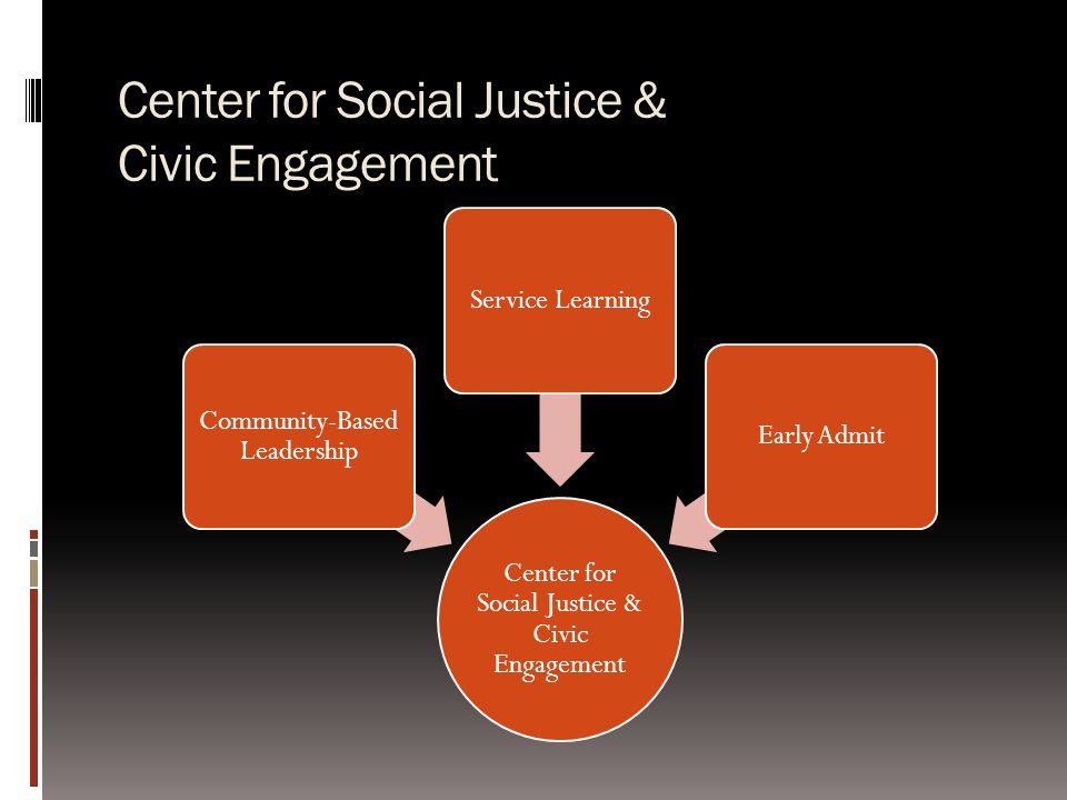 Center for Social Justice & Civic Engagement Community-Based Leadership Service LearningEarly Admit