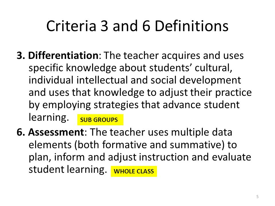 Criteria 3 and 6 Definitions 3.