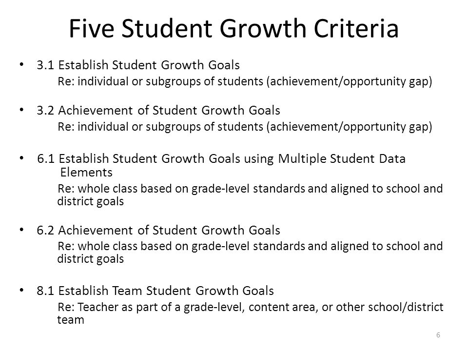 3.1 Establish Student Growth Goals Re: individual or subgroups of students (achievement/opportunity gap) 3.2 Achievement of Student Growth Goals Re: individual or subgroups of students (achievement/opportunity gap) 6.1 Establish Student Growth Goals using Multiple Student Data Elements Re: whole class based on grade-level standards and aligned to school and district goals 6.2 Achievement of Student Growth Goals Re: whole class based on grade-level standards and aligned to school and district goals 8.1 Establish Team Student Growth Goals Re: Teacher as part of a grade-level, content area, or other school/district team Five Student Growth Criteria 6