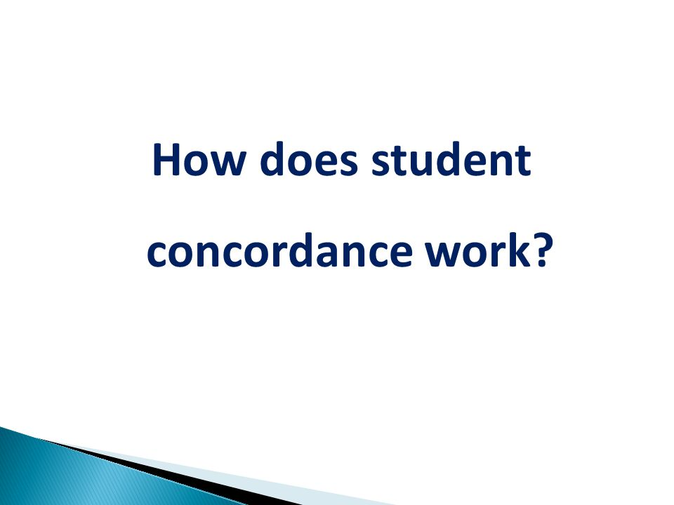 How does student concordance work
