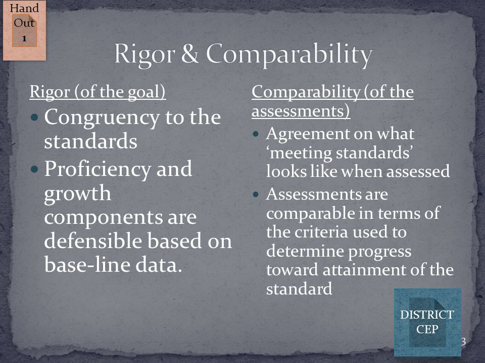 13 Rigor (of the goal) Congruency to the standards Proficiency and growth components are defensible based on base-line data. Comparability (of the ass