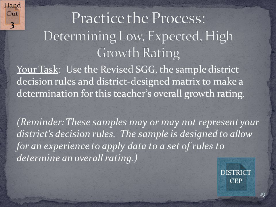 Your Task: Use the Revised SGG, the sample district decision rules and district-designed matrix to make a determination for this teacher's overall gro