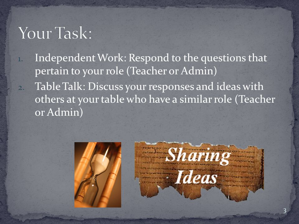 1.Independent Work: Respond to the questions that pertain to your role (Teacher or Admin) 2.
