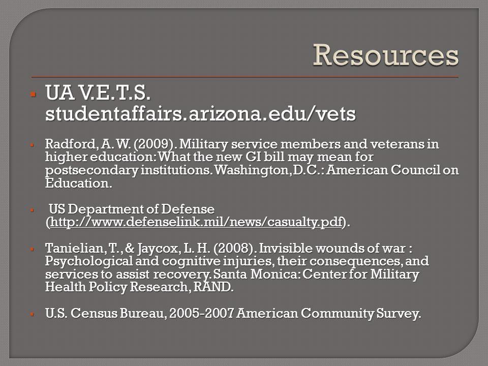  UA V.E.T.S. studentaffairs.arizona.edu/vets  Radford, A.
