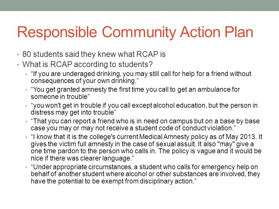 Responsible Community Action Plan 80 students said they knew what RCAP is What is RCAP according to students.