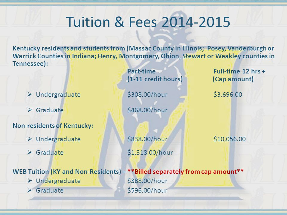 Tuition & Fees 2014-2015 Kentucky residents and students from (Massac County in Illinois; Posey, Vanderburgh or Warrick Counties in Indiana; Henry, Montgomery, Obion, Stewart or Weakley counties in Tennessee): Part-time Full-time12 hrs + (1-11 credit hours) (Cap amount)  Undergraduate $308.00/hour $3,696.00  Graduate$468.00/hour Non-residents of Kentucky:  Undergraduate$838.00/hour $10,056.00  Graduate$1,318.00/hour WEB Tuition (KY and Non-Residents) – **Billed separately from cap amount**  Undergraduate$388.00/hour  Graduate$596.00/hour