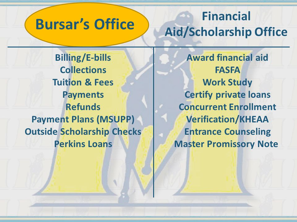 Billing/E-bills Collections Tuition & Fees Payments Refunds Payment Plans (MSUPP) Outside Scholarship Checks Perkins Loans Award financial aid FASFA Work Study Certify private loans Concurrent Enrollment Verification/KHEAA Entrance Counseling Master Promissory Note Bursar's Office Financial Aid/Scholarship Office