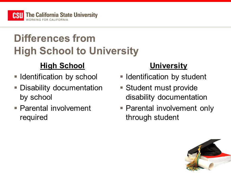Differences from High School to University High School  Identification by school  Disability documentation by school  Parental involvement required