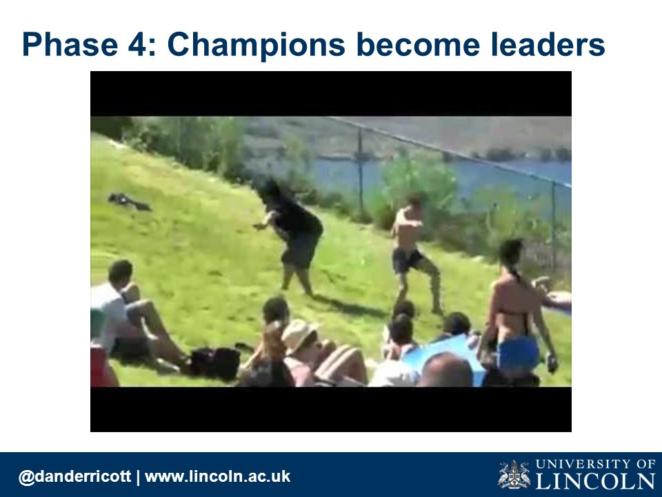 @danderricott | www.lincoln.ac.uk Phase 4: Champions become leaders