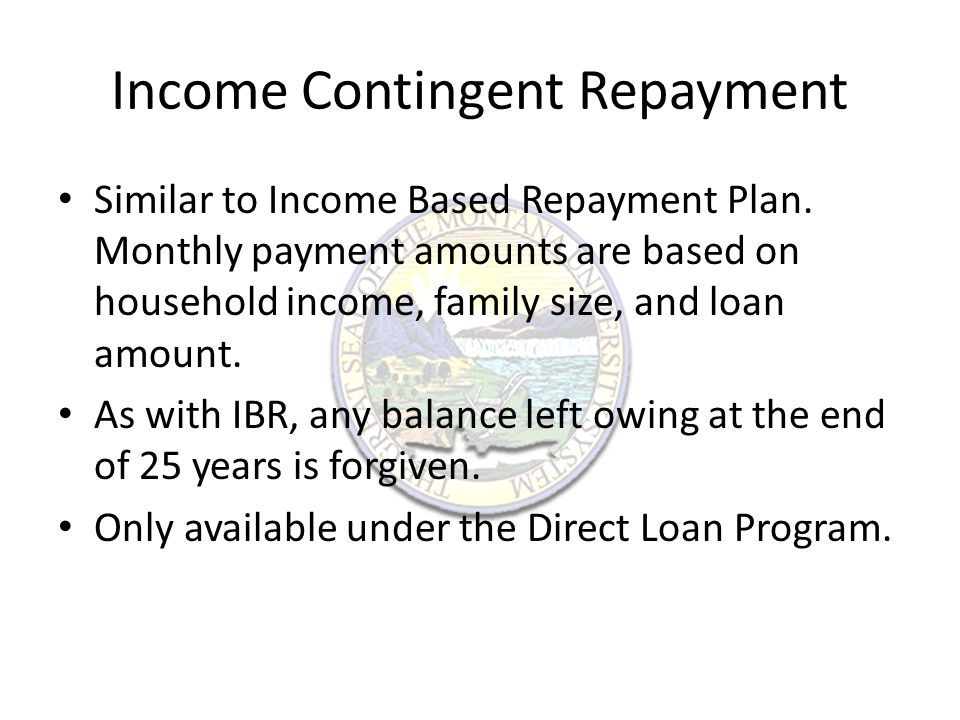 Income Contingent Repayment Similar to Income Based Repayment Plan.